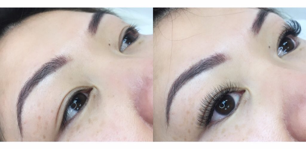 russian volume lashes on sparse lashes