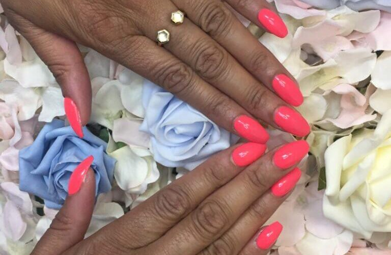 bright gel nails neon freelance beauty specialist